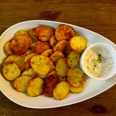 Roasted Herb Potatoes with Garlic Dill Dipping Sauce