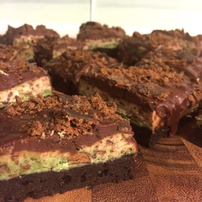 Thin Mint Brownie Bars