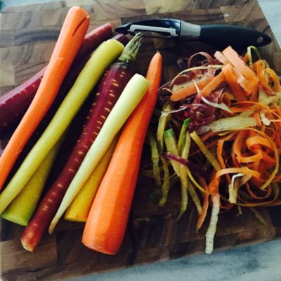 Roasted Tri-Colored Carrots with Honey-Ginger Glaze & Goat Cheese