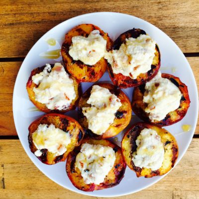 Grilled Peaches with Honey Ricotta Filling