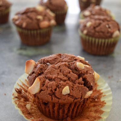 White Chocolate Macadamia Nut Cacao Muffins