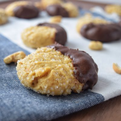Chocolate Dipped Cashew Cookies