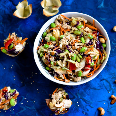 Asian Cashew Chicken Salad Wontons