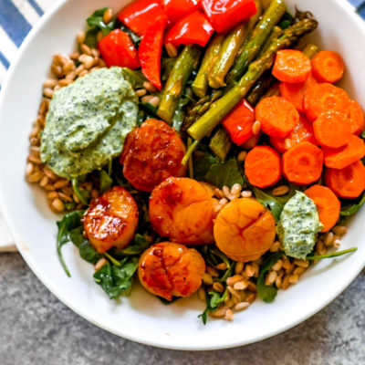 Greens and Grains Scallop Bowls