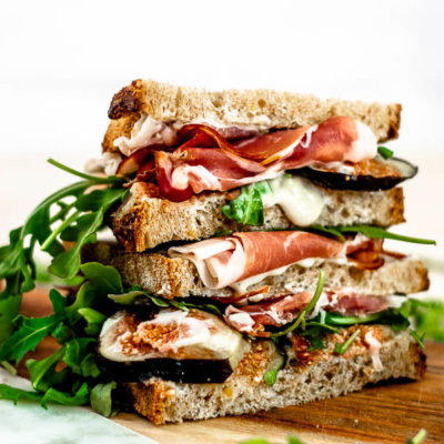 Fig and Prosciutto Sandwiches with Honey Gorgonzola Spread