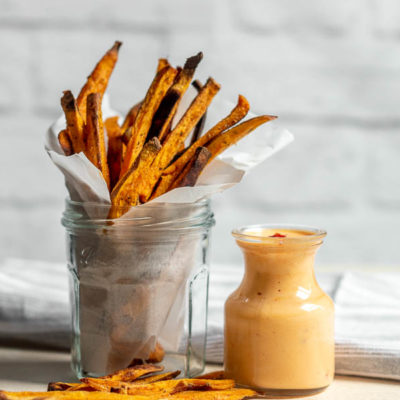 Baked Sweet Potato Fries with Honey Harissa Dipping Sauce