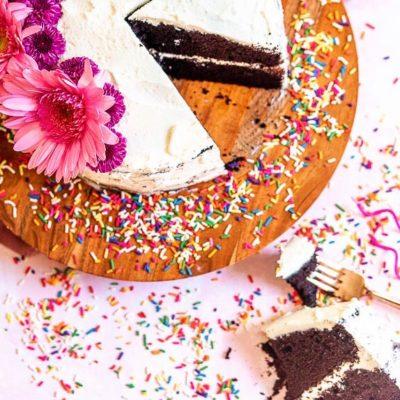 Dark Chocolate Cake with Almond Buttercream Frosting