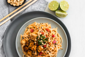 Red Curry Peanut Rice Noodles with Tofu