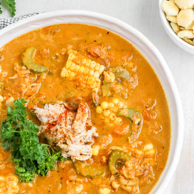 Creamy Roasted Sweet Pepper Crab Bisque