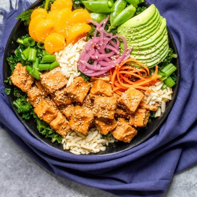 Vegan Asian Sesame Tofu Kale Salad
