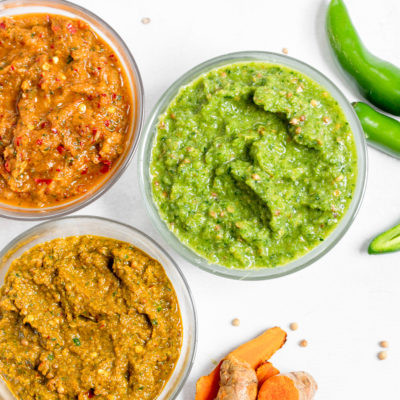 Homemade Thai Curry Paste (Green, Red and Yellow)