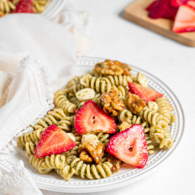 Strawberry Pesto Pasta Salad