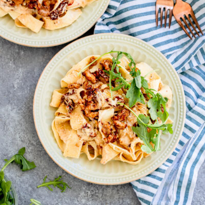 Goat Cheese and Sun Dried Tomato Pappardelle