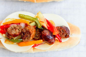 Air Fryer Sausage Peppers and Onions Sandwiches