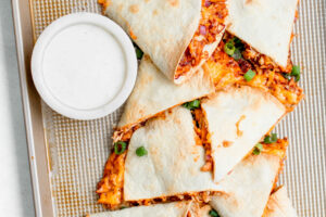 Sheet Pan BBQ Chicken Quesadillas